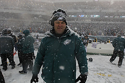 Philadelphia Eagles Defensive Quality Control Coach Mike Dawson looks on front he sideline before the NFL game between the Detroit Lions and the Philadelphia Eagles on Sunday, December 8th 2013 in Philadelphia. (Photo by Brian Garfinkel)