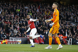 BRITAIN-LONDON-FOOTBALL-UEFA EUROPA LEAGUE-ARSENAL VS VALENCIA.(190502) -- LONDON, May 2, 2019  Arsenal's ALexandre Lacazette (L) celebrates scoring the first Arsenal goal during the UEFA Europa League semi-final first leg match between Arsenal and Valencia at The Emirates Stadium in London, Britain on May 2, 2019. Arsenal won 3-1.  FOR EDITORIAL USE ONLY. NOT FOR SALE FOR MARKETING OR ADVERTISING CAMPAIGNS. NO USE WITH UNAUTHORIZED AUDIO, VIDEO, DATA, FIXTURE LISTS, CLUB/LEAGUE LOGOS OR ''LIVE'' SERVICES. ONLINE IN-MATCH USE LIMITED TO 45 IMAGES, NO VIDEO EMULATION. NO USE IN BETTING, GAMES OR SINGLE CLUB/LEAGUE/PLAYER PUBLICATIONS. (Credit Image: © Matthew Impey/Xinhua via ZUMA Wire)