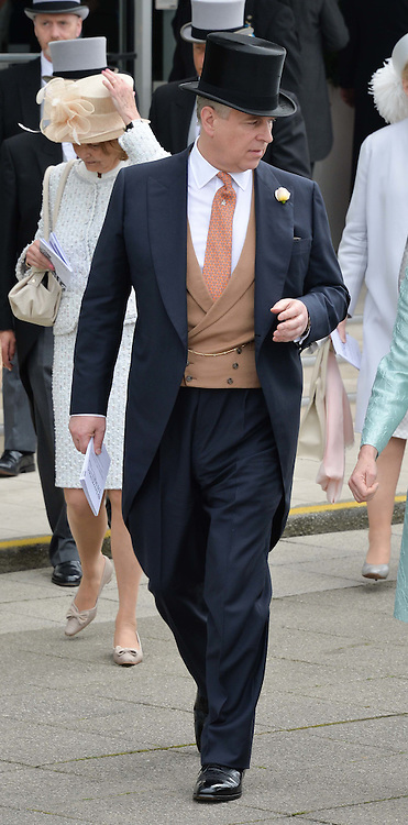 HRH The DUKE OF YORK at the Investec Derby at Epsom Racecourse, Epsom, Surrey on 4th June 2016.