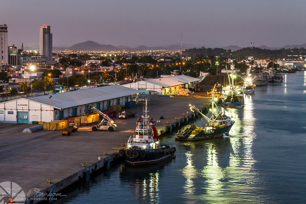 View of the city of Mazatlan, Mexico, the harbor area, and docks