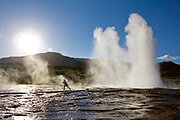 Horse riding in Southern Iceland. Geysir hot springs