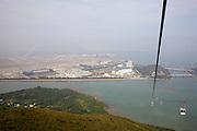 Lantau island. Ngong Ping Skyrail. View over Chek Lap Kok International Airport.