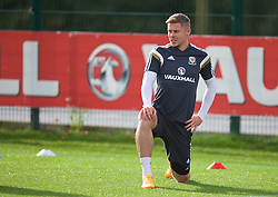 NEWPORT, WALES - Wednesday, October 8, 2014: Wales' Simon Church training at Dragon Park National Football Development Centre ahead of the UEFA Euro 2016 qualifying match against Bosnia and Herzegovina. (Pic by David Rawcliffe/Propaganda)