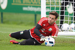 CARDIFF, WALES - Saturday, June 4, 2016: Wales' goalkeeper Daniel Ward during a training session at the Vale Resort Hotel ahead of the International Friendly match against Sweden. (Pic by David Rawcliffe/Propaganda)
