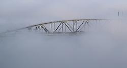 Auckland Harbour bridge appears out the mist.