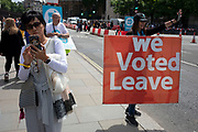 Pro Brexit protesters in Westminster as inside Parliament the Tory leadership race continues on 17th June 2019 in London, England, United Kingdom.