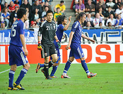 30.05.2010, UPC Arena, Graz, AUT, WM Vorbereitung, Japan vs England, im Bild Eiji Kawashima, Japan, Marcus Tanaka, Japan, Yasuhito Endo, Japan, EXPA Pictures © 2010, PhotoCredit: EXPA/ S. Zangrando / SPORTIDA PHOTO AGENCY