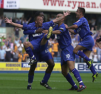 Photo:Alan Crowhurst.Digitalsport<br /> <br /> Millwall v Leicester City 14/08/04 Coca-Cola Championship.Jody Morris celebrates with team mates after the opening goal for Millwall.
