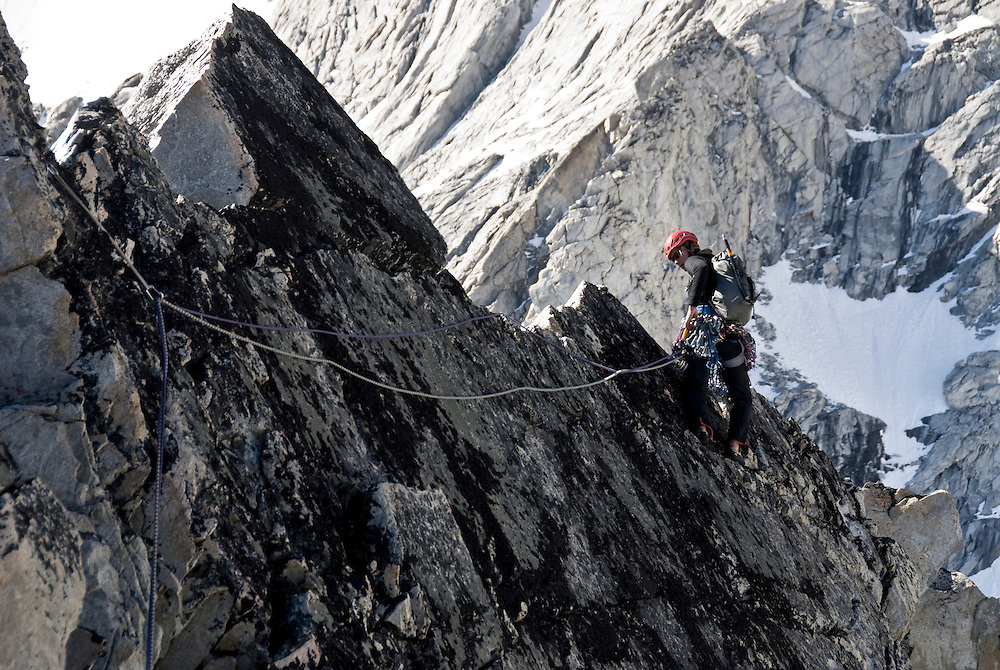 Kate Rutherford, Mt. Tiedemann (ED2 1600m 5.11) Waddington Range, BC,