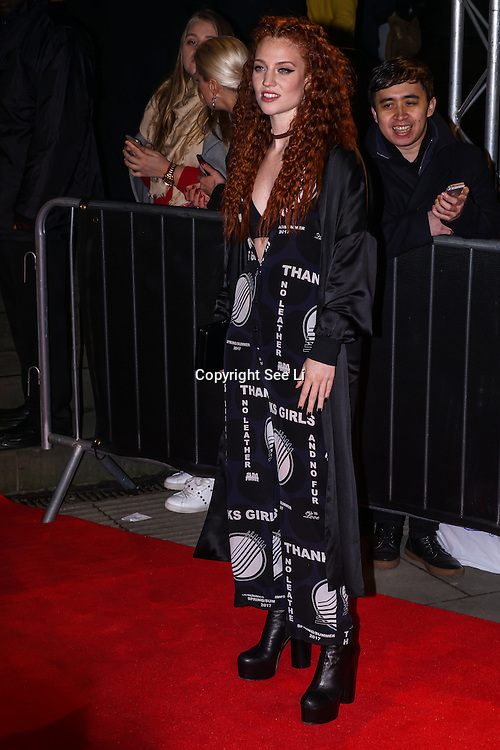 London,England,UK. 21th Fen 2017. Jess Glynne attends London Fabulous Fund Fair hosted by Natalia Vodianova and Karlie Kloss in support of The Naked Heart Foundation on February 21, 2017 at The Roundhouse in London, England.,UK. by See Li
