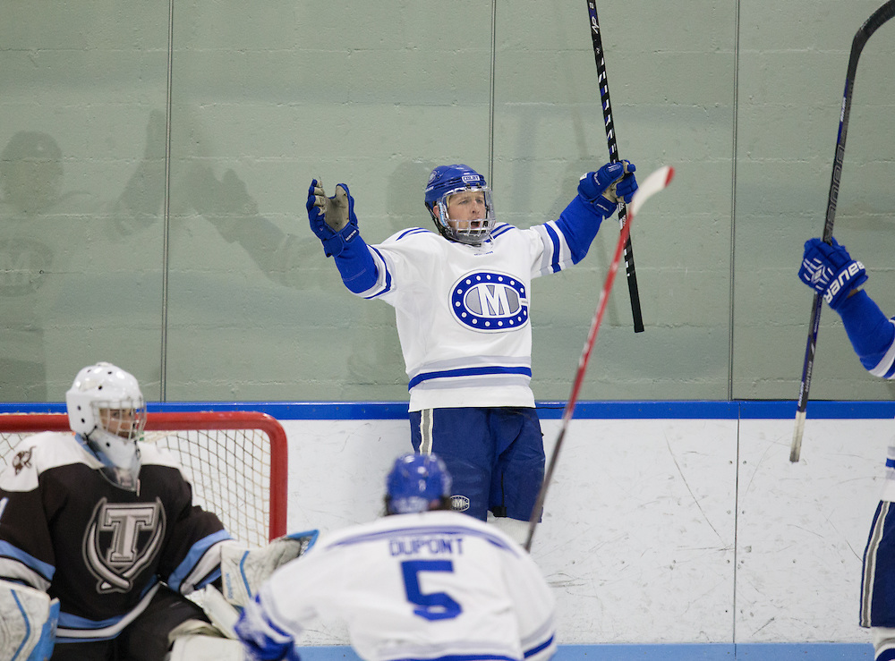 Tyler Lingel, of Colby College, in a NCAA Division III hockey game against Tufts University on February 20, 2015 in Waterville, ME. (Dustin Satloff/Colby College Athletics)