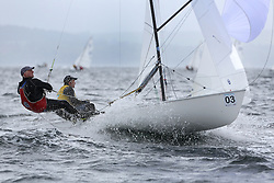 The Flying Dutchman World Championships,  Largs 2014. First days racing in breezy conditions on the Clyde. <br /> <br /> The former Olympic class has attract 40 worldwide competitors to Scotland to compete. <br /> DEN 21, Jorgen Bojsen-Moller and JAcob Bojsen-Moller<br /> <br /> PIctures Marc Turner / PFM Pictures