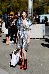 Street style, model Teddy Quinlivan after Paco Rabanne spring summer 2019 ready-to-wear show, held at Grand Palais, in Paris, France, on September 27th, 2018. Photo by Marie-Paola Bertrand-Hillion/ABACAPRESS.COM
