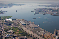 Maryland Cruise Terminal & SLP aerial toward Carnival Pride ship and Key Bridge