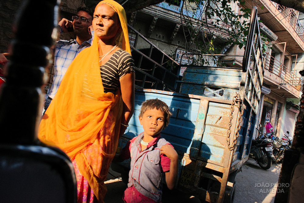 Mother walking with the son at Jodhpur old town