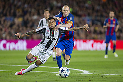 April 19, 2017 - Barcelona, Spain - Dani Alves of Juventus FC and Andres Iniesta of FC Barcelona during the UEFA Champions League Quarter Final second leg match between FC Barcelona and Juventus at Camp Nou Stadium on April 19, 2017 in Barcelona, Spain. (Credit Image: © NurPhoto via ZUMA Press)