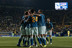 October 20, 2018 - Vila-Real, Castellon, Spain - Atletico de Madrid players celebrate a goal during the La Liga match between Villarreal CF and Atletico de Madrid at Estadio de la Ceramica on October 20, 2018 in Vila-real, Spain  (Credit Image: © David Aliaga/NurPhoto via ZUMA Press)