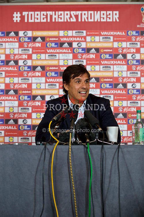 CARDIFF, WALES - Thursday, May 25, 2017: Wales' Wales manager Chris Coleman at the Vale Resort during a press conference to announce his squad ahead of the 2018 FIFA World Cup Qualifying Group D match against Serbia. (Pic by David Rawcliffe/Propaganda)