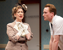 Harvey<br /> by Mary Chase <br /> at Birmingham Rep Theatre, Birmingham, Great Britain <br /> Press photocall <br /> 11th February 2015<br /> <br /> <br /> Maureen Lipman as Veta Louise Simmons <br /> Jack Hawkins as Dr Sanderson <br /> <br /> <br /> <br /> <br /> Directed by Lindsey Posner<br /> <br /> <br /> Photograph by Elliott Franks