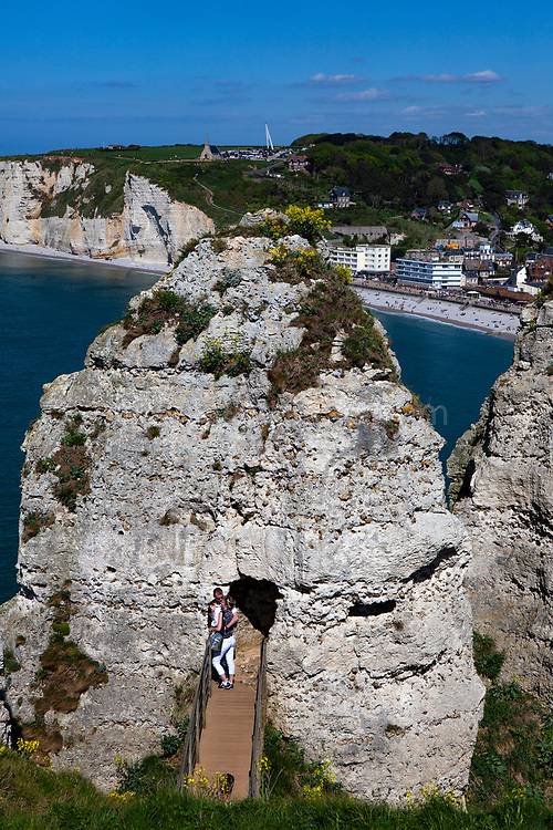 Tourists in Etretat, Normandy, France