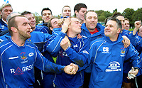 Photo: Dave Linney.<br />Chasetown v Oldham Athletic. The FA Cup. 06/11/2005. Chasetown Mgr(Far right) celebrates with his players.