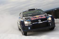15.02.2015,  Karlstad, SWE, FIA, WRC, Schweden Rallye, im Bild Sebastien Ogier/Julien Ingrassia (Volkswagen Motorsport/Polo R WRC) // during the WRC Sweden Rallye at the Karlstad in Karlstad, Sweden on 2015/02/15. EXPA Pictures © 2015, PhotoCredit: EXPA/ Eibner-Pressefoto/ Bermel<br /> <br /> *****ATTENTION - OUT of GER*****