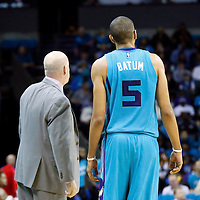 01 November 2015: Charlotte Hornets head coach Steve Clifford is seen next to Charlotte Hornets forward Nicolas Batum (5) during the Atlanta Hawks 94-92 victory over the Charlotte Hornets, at the Time Warner Cable Arena, in Charlotte, North Carolina, USA.