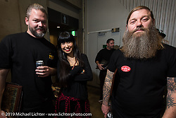 Harpoon and Brent Rogers at the annual Mooneyes Yokohama Hot Rod and Custom Show. Japan. Sunday, December 7, 2014. Photograph ©2014 Michael Lichter.