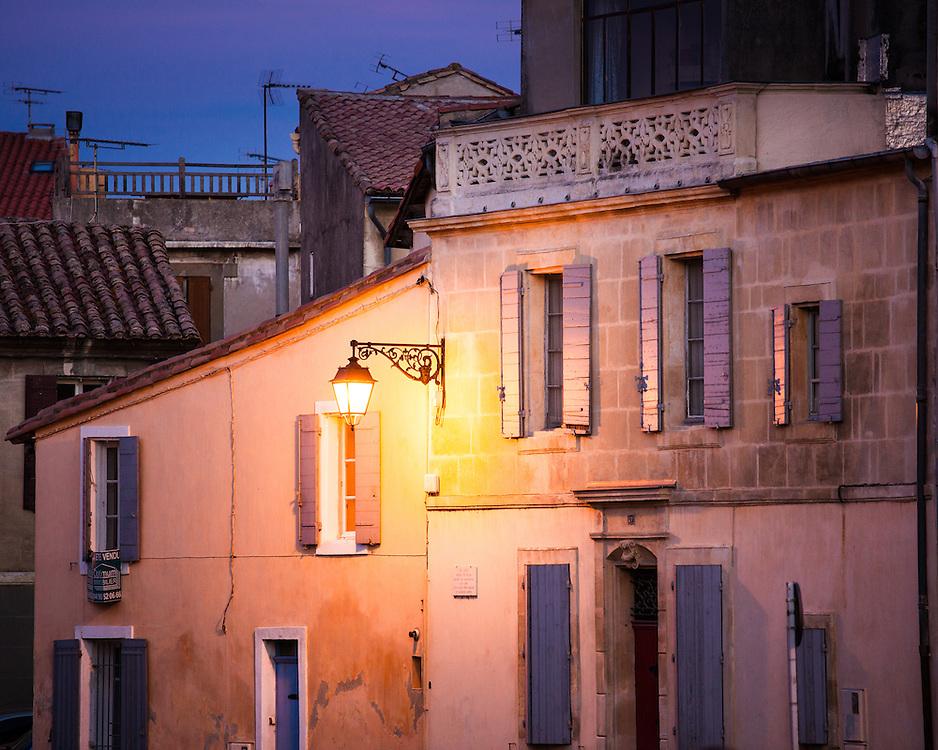 Arles evening buildings, France.