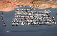 Aerial view of the Wahwaep Marina on Lake Powell.