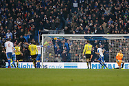 Brighton & Hove Albion centre forward Tomer Hemed (10) scores a penalty (3-0) and celebrates during the EFL Sky Bet Championship match between Brighton and Hove Albion and Burton Albion at the American Express Community Stadium, Brighton and Hove, England on 11 February 2017. Photo by Richard Holmes.