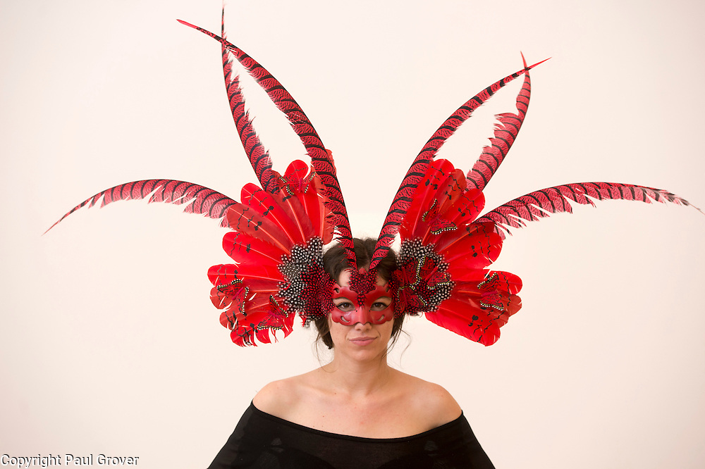 Mcc0047384.DT News.The Animal Ball.This years Animal Ball which brings the glamour and splendour of a masked soiree to the heart of London will benefit the charity Elephant Family with masks created by the likes of Christian Lacroix,Mario Testino and Swarovski.Pic Shows Katherine Aplin wearing a creation by Beluah London