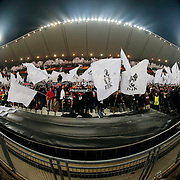 Besiktas's Supporters during the UEFA Europa League Round of 32 second leg soccer match Besiktas between Liverpool at Ataturk Olimpiyat stadium in Istanbul Turkey on Thursday February 26, 2015. Photo by Aykut AKICI/TURKPIX