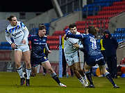 Sale Sharks full back Simon Hammersley tackles Bath Rugby's wing Will Muir during a Gallagher Premiership Round 9 Rugby Union match, Friday, Feb 12, 2021, in Leicester, United Kingdom. (Steve Flynn/Image of Sport)