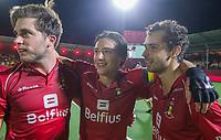 ANTWERPEN - Cédric Charlier (Belgie) , Thomas Briels (Belgie) en Florent van Aubel (Belgie)    na  de finale mannen  Belgie-Spanje (5-0),  bij het Europees kampioenschap hockey. Belgie Europees Kampioen.   COPYRIGHT KOEN SUYK