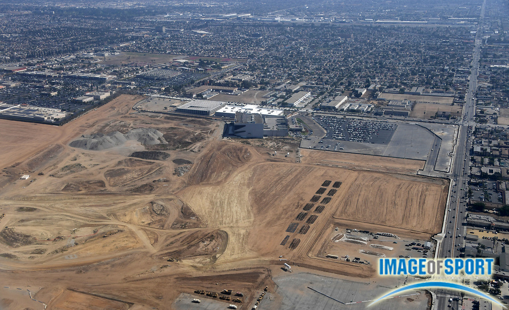 Sep 2, 2016; Inglewood, CA, USA; General aerial view of the Los Angeles Rams stadium under constructin on the previous location of the Hollywood Park racetrack is scheduled to open in 2019. The privately financed stadium by Rams owner Stan Kroenke (not pictured) is the centerpiece of a 298-acre mixed-use development entertainment, retail and office space.