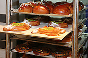 Puff pastry or breakfast pastry in a bakery shop