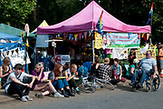 Balcombe, West Sussex. Site of Cuadrilla drilling . Protesters have lunch at the roadside camp.