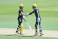 Hampshire wicketkeeper-batsman Adam Wheater congratulates Tom Alsop on reaching his half century during the Royal London One Day Cup match between Hampshire County Cricket Club and Essex County Cricket Club at the Ageas Bowl, Southampton, United Kingdom on 5 June 2016. Photo by David Vokes.