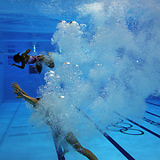 Emilie Heymans, and Jennifer Abel, Canada in action during the Women's Synchronised 3m springboard diving competition at the Aquatic Centre at Olympic Park, Stratford during the London 2012 Olympic games. London, UK. 29th July 2012. Photo Tim Clayton