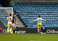 Football - 2018 / 2019 FA Cup - Third Round: Millwall vs. Hull City<br /> <br /> Jon Toral (Hull City) looks up to the second tier at the away fans after scoring at The Den.<br /> <br /> COLORSPORT/DANIEL BEARHAM