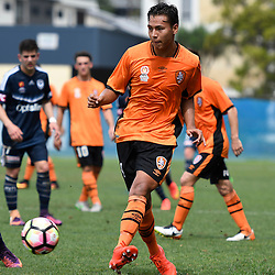 BRISBANE, AUSTRALIA - NOVEMBER 12: Dane Ingham of the Roar passes the ball during the round 1 Foxtel National Youth League match between the Brisbane Roar and Melbourne Victory at Spencer Park on November 12, 2016 in Brisbane, Australia. (Photo by Patrick Kearney/Brisbane Roar)