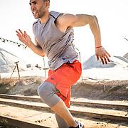 CJ Hammond running through his exercises near an old salt mine outside of San Diego, CA.
