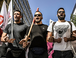 Protesters take part in a demonstration against the visit of U.S. Secretary of State Mike Pompeo, in Athens, Greece October 5, 2019<br /> <br /> Pictured: <br /> Dimitris Lampropoulos    EEm date