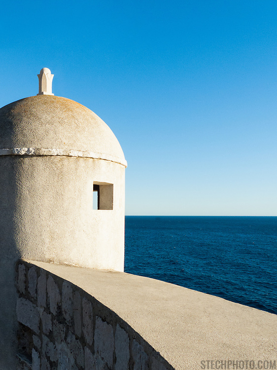 """An outpost overlooking the Adriatic Sea on the old city wall in Dubrovnik, Croatia.<br /> <br /> Dubrovnik serves as the official setting of """"King's Landing"""" from the popular TV show """"Game of Thrones""""."""