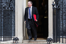London, UK. 12th February, 2019. Liam Fox MP, Secretary of State for International Trade and President of the Board of Trade, leaves 10 Downing Street following a Cabinet meeting.