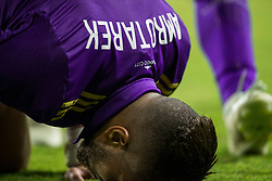 August 4, 2018 - Orlando, FL, U.S. - ORLANDO, FL - AUGUST 04: Orlando City defender Amro Tarek (3) after scoring a goal during the soccer match between the Orlando City Lions and the New England Revolution on August 4, 2018 at Orlando City Stadium in Orlando FL. (Photo by Joe Petro/Icon Sportswire) (Credit Image: © Joe Petro/Icon SMI via ZUMA Press)