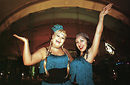 Skoda Fringe Gala at Our Dynamic Earth, Edinburgh: Supergirly (Jai Simeone, right, and Louise McClatchy) arrive at the showcase event for acts appearing at the Edinburgh Festival Fringe. ...
