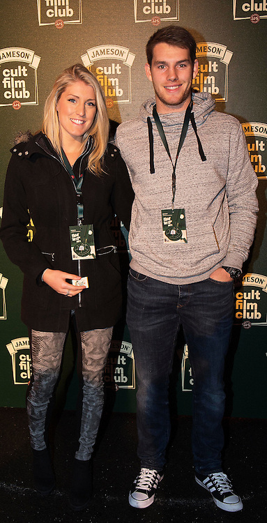 Alex Hunt and Connacht  Rugby Player Jake Heenan at the Jameson Cult Film Club screening of Friday the 13th Part 2 in the Black Box Theatre in Galway.  Photo:Andrew Downes