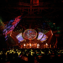 Grateful Dead in Concert 29 September 1994 at The Boston Garden. Image No. 94GDC52-08. Stage, Set and Lighing Design View. Photography taken from the lighting booth for Candace Brightman LD.